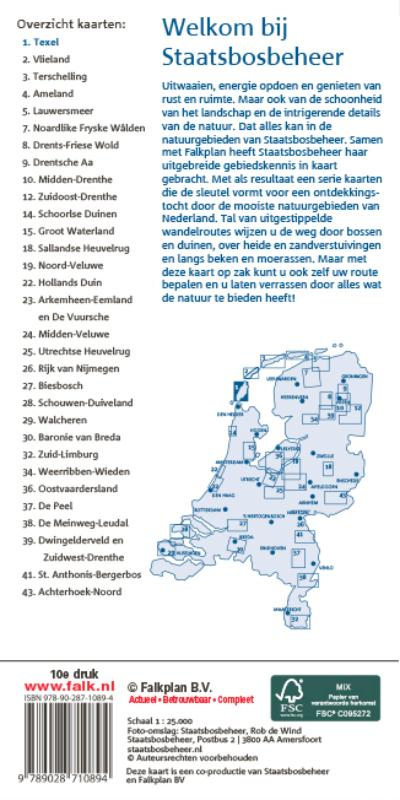 Falk Staatsbosbeheer wandel- en fietskaart 1 Texel 2016-2018, 9e druk met fietsknooppunten