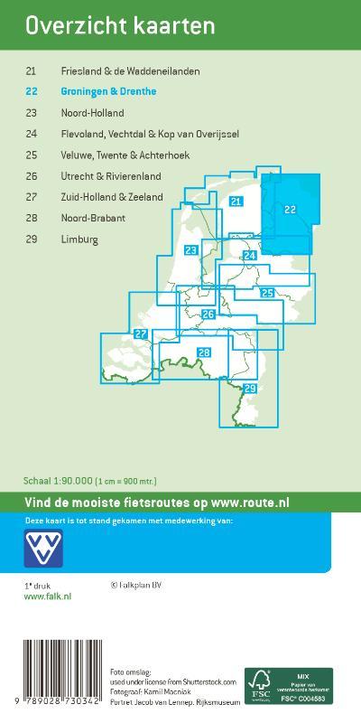 Falk fietskaart 22 Groningen & Drenthe