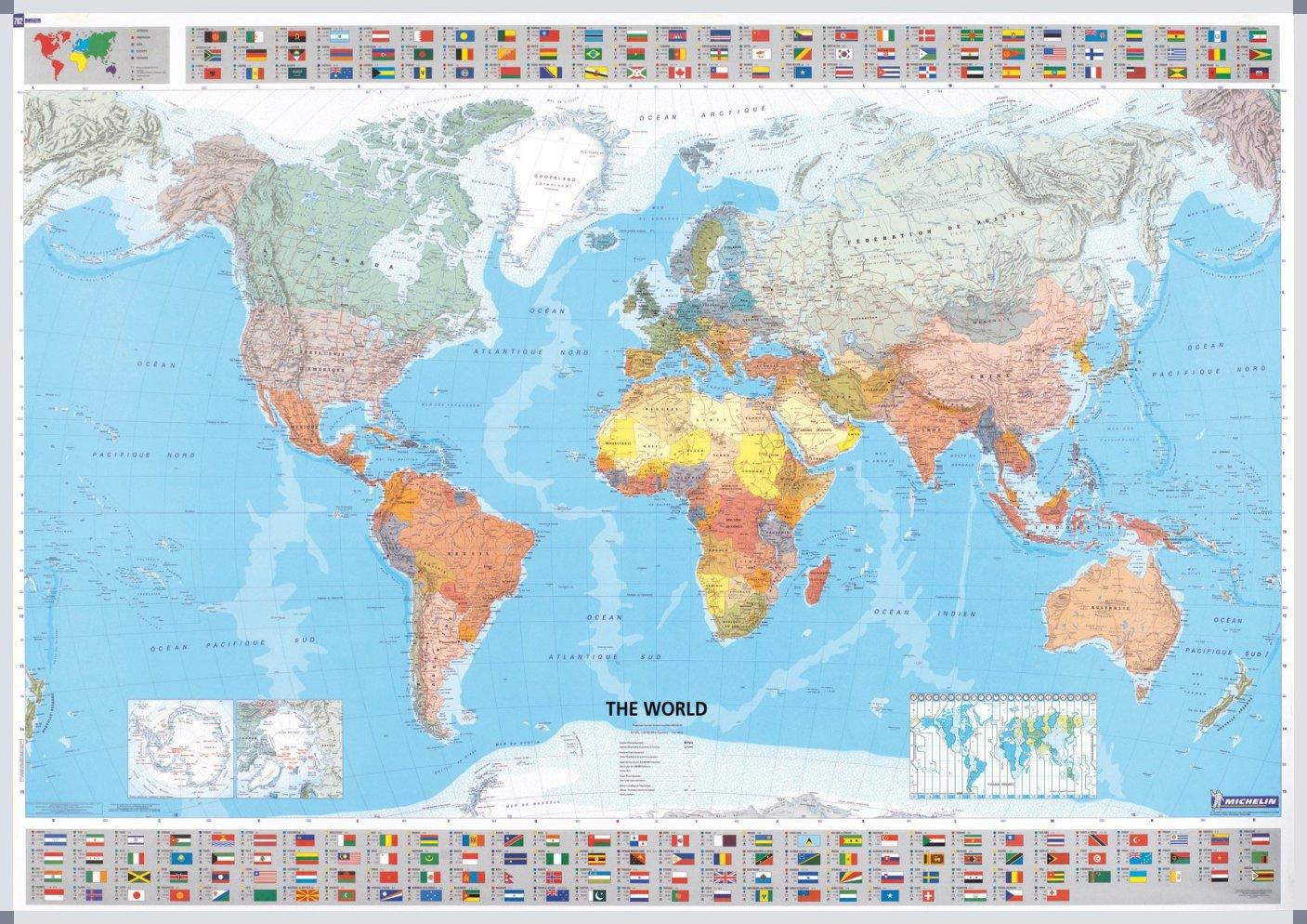 Wereldkaart Michelin met vlaggen - Magneetbord