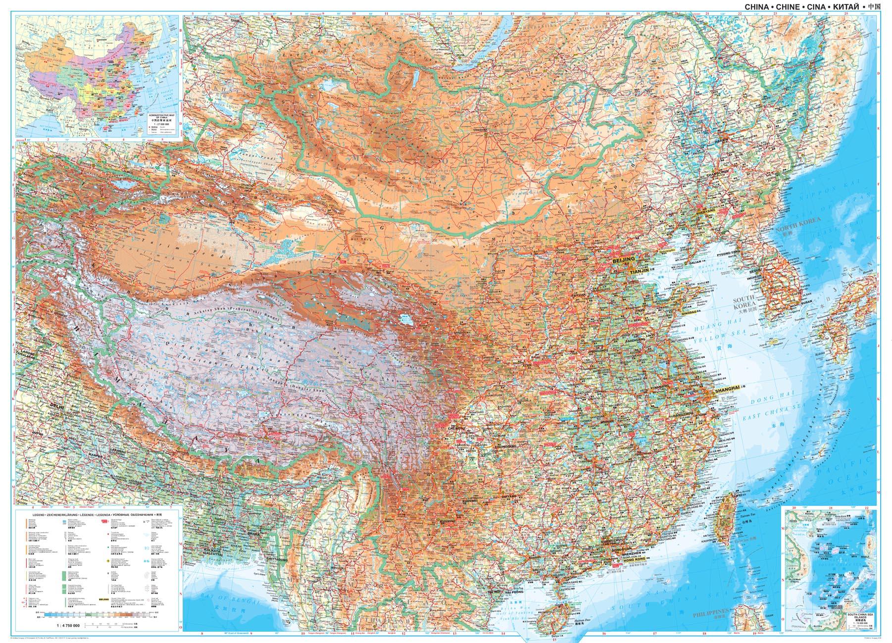 China geografisch wandkaart