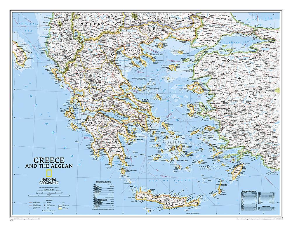 Griekenland wandkaart