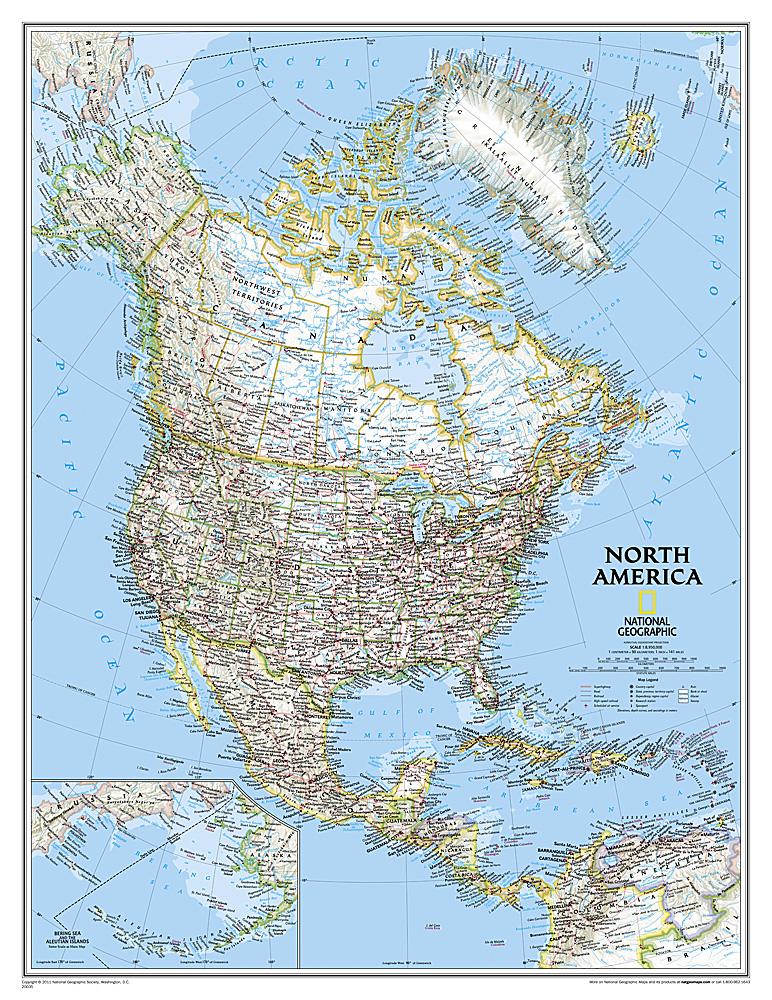 America North politiek groot wandkaart