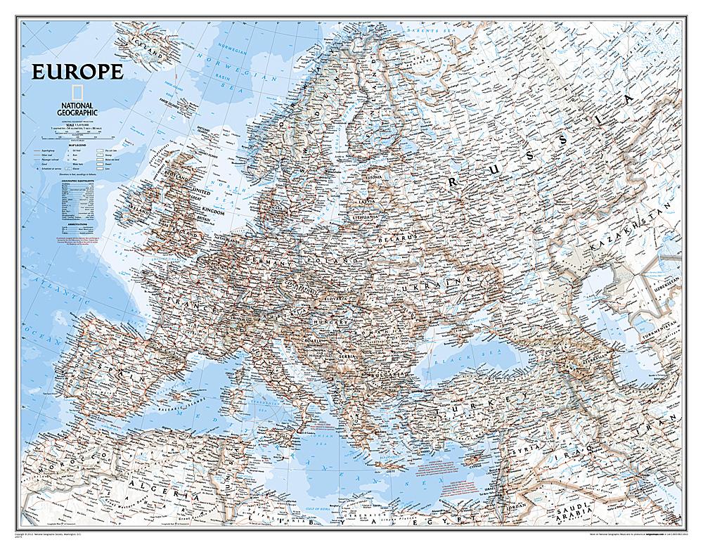 Europe politiek groot wandkaart