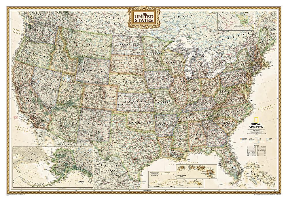 USA politiek antiek wandkaart