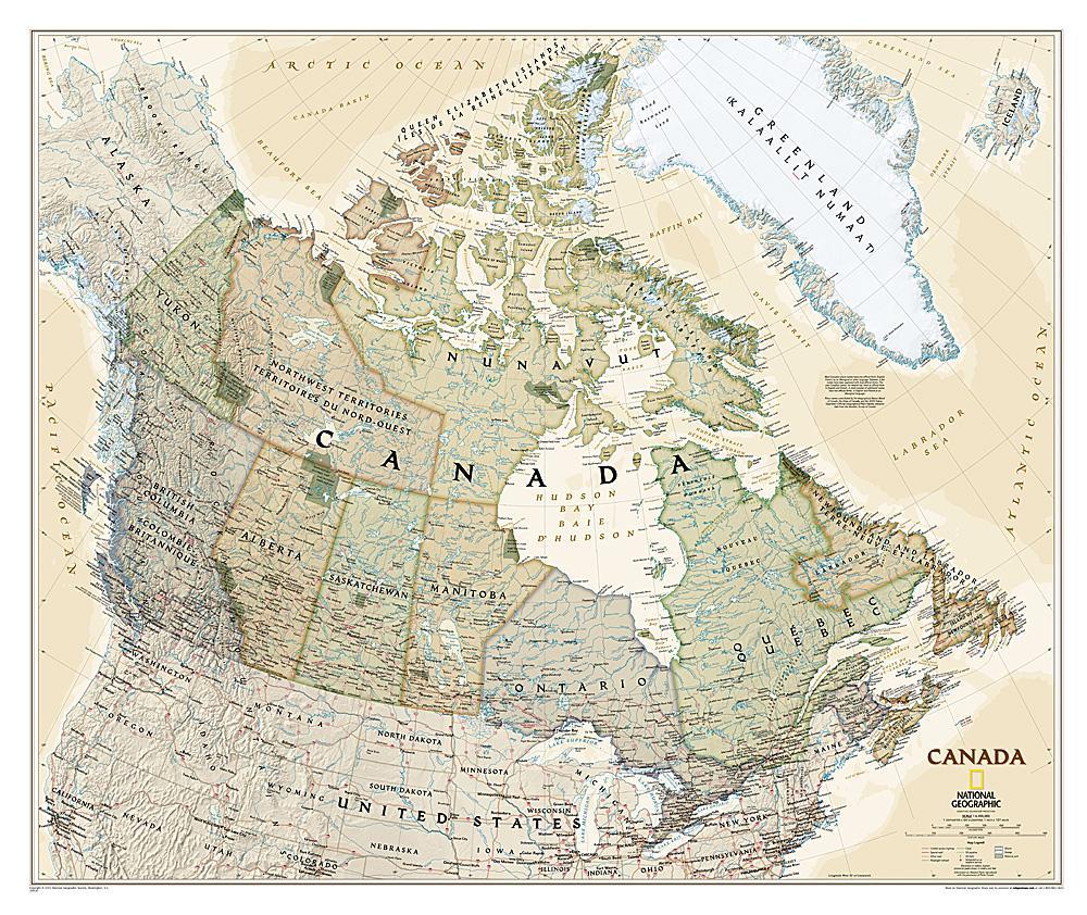 Canada antiek wandkaart
