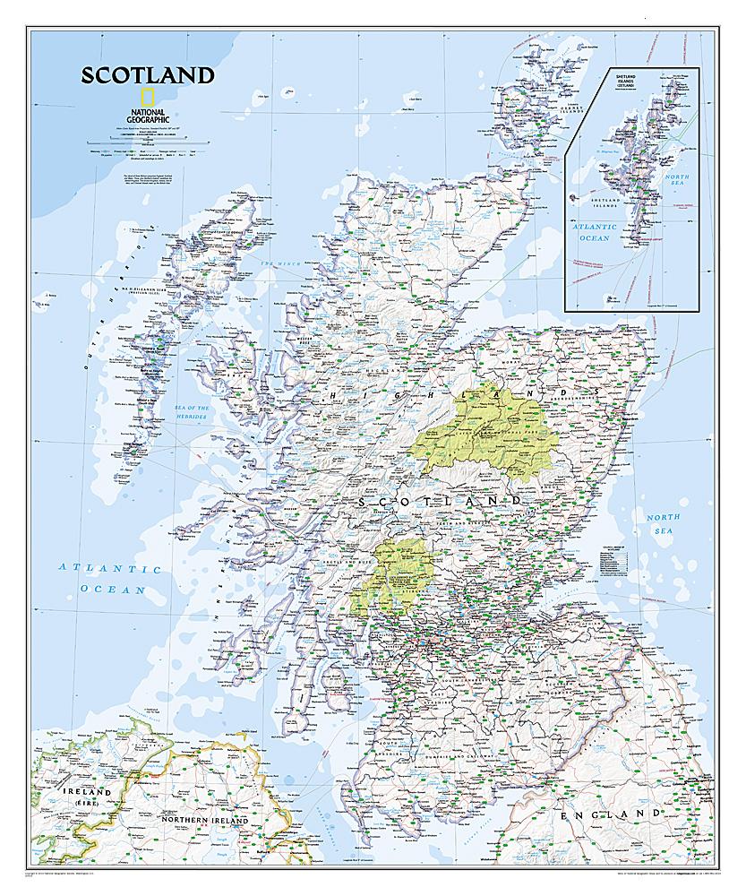 Schotland wandkaart