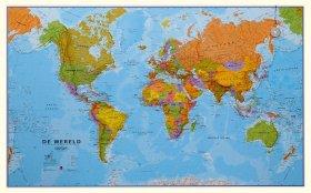 Maps International Wereldkaart Politiek Nederlandstalig - Groot