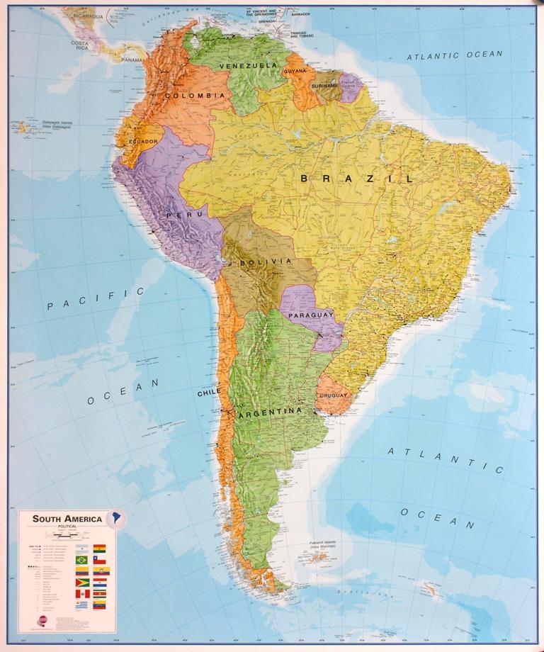 Zuid-Amerika politiek wandkaart