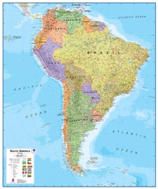 Amerika Zuid politiek wandkaart geplastificeerd