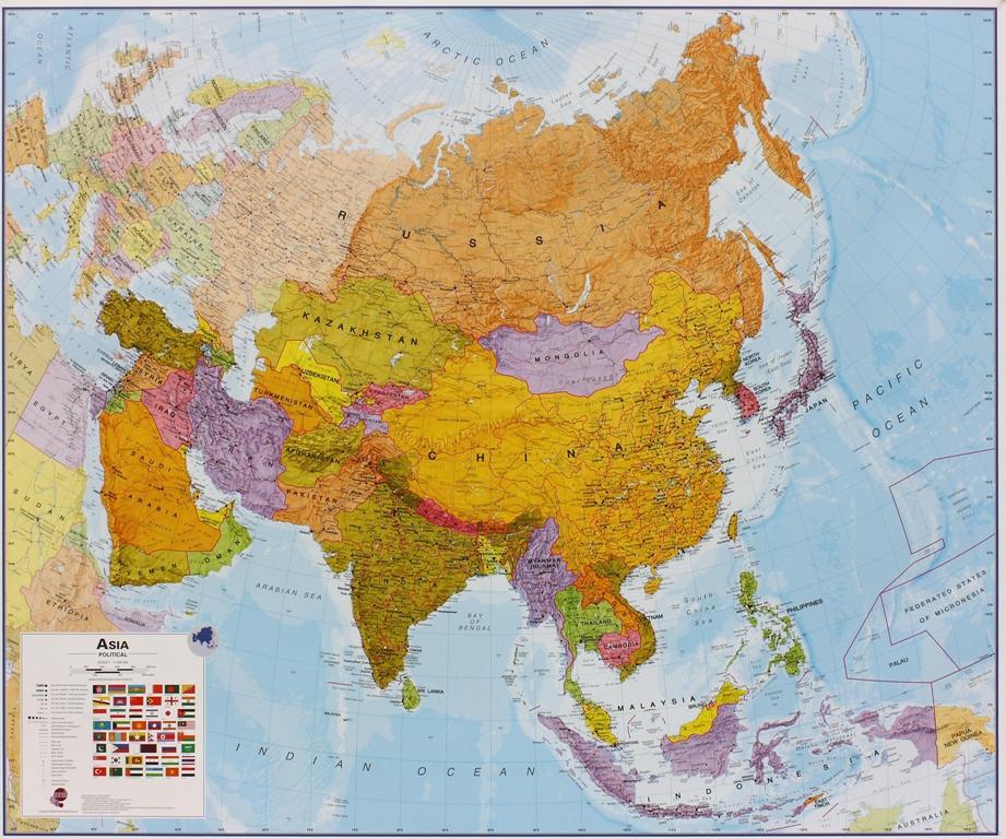 Azië politiek wandkaart