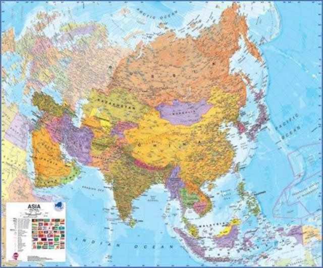 Azië politiek wandkaart geplastificeerd