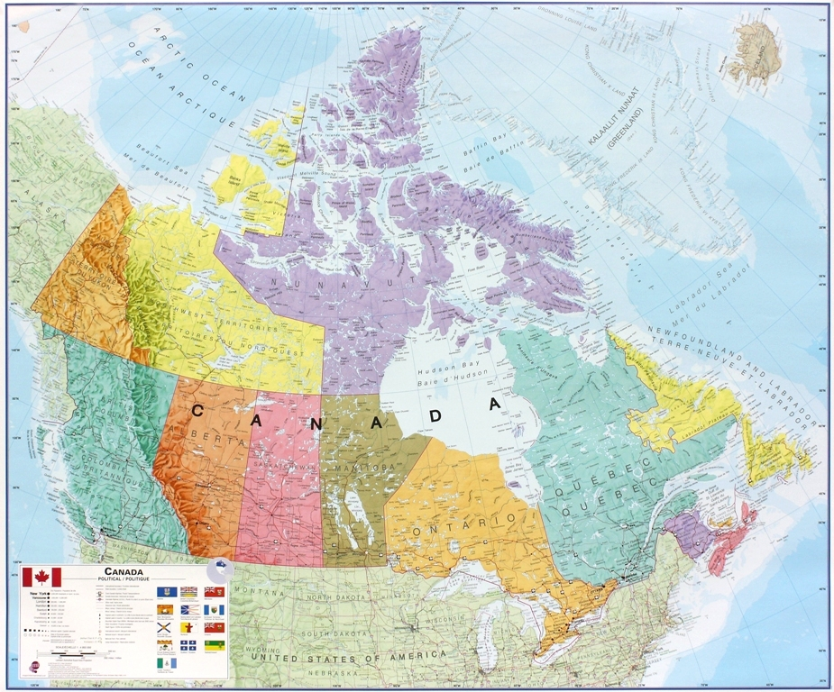 Canada politiek wandkaart