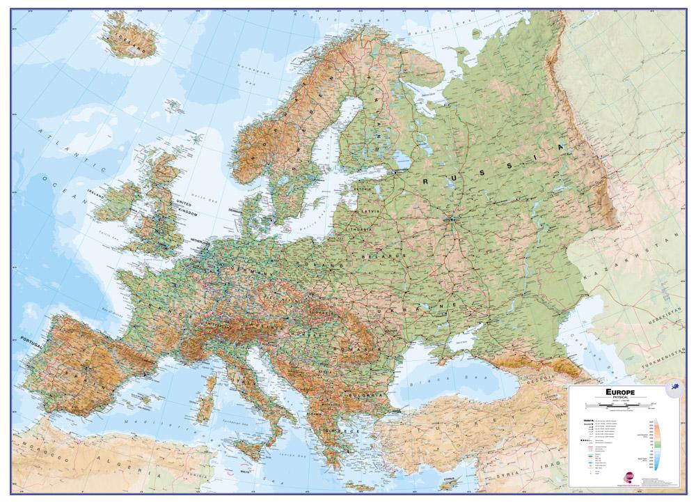 Europe fysisch wandkaart