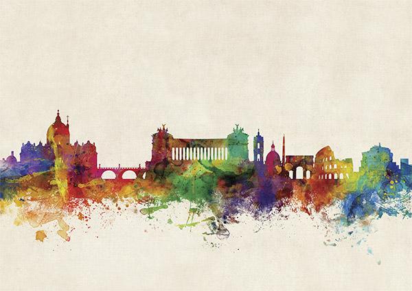 Rome city skyline wandkaart