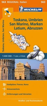 Michelin Toskana, Umbrien, San Marino, Marken, Latium, Abruzzen. Straßen- und Tourismuskarte 1:400.000