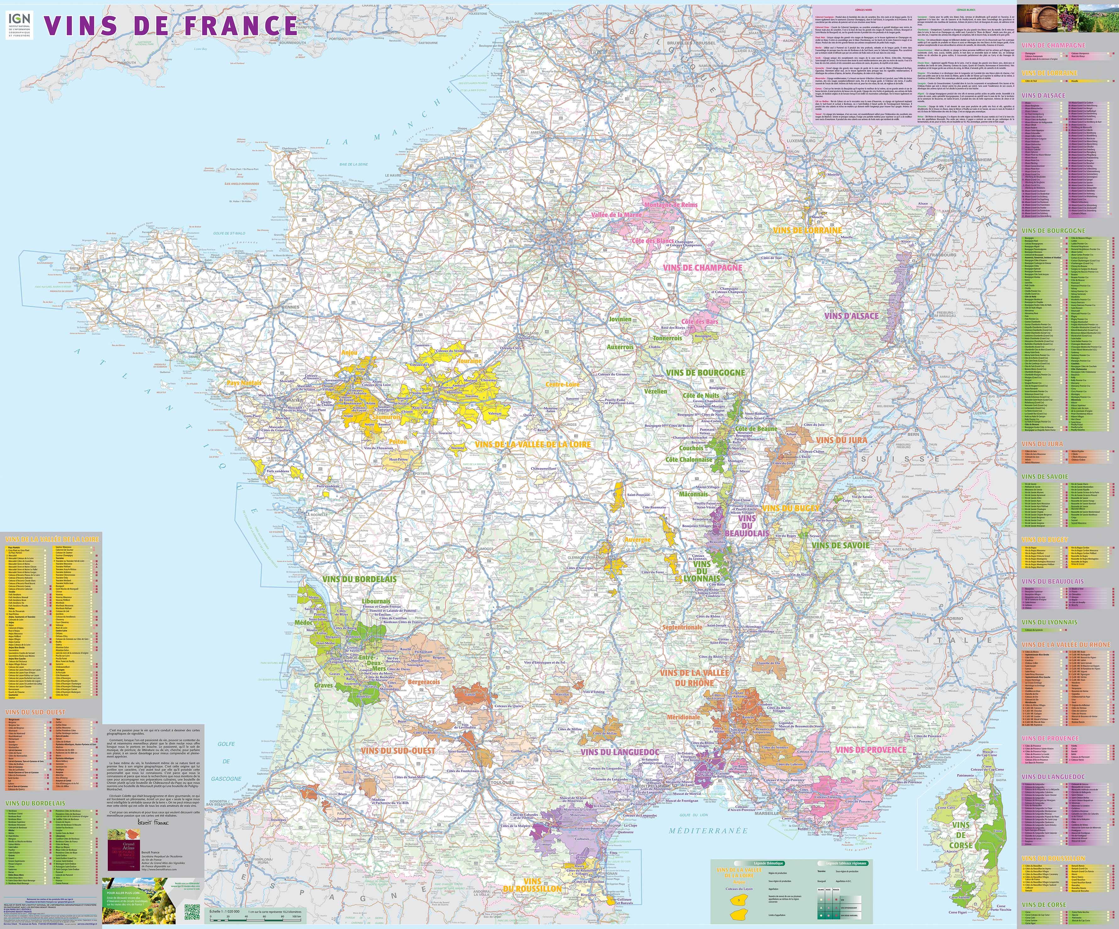Vins de France wandkaart geplastificeerd