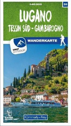 Lugano - Sottoceneri - Gambarogno 50 Wanderkarte