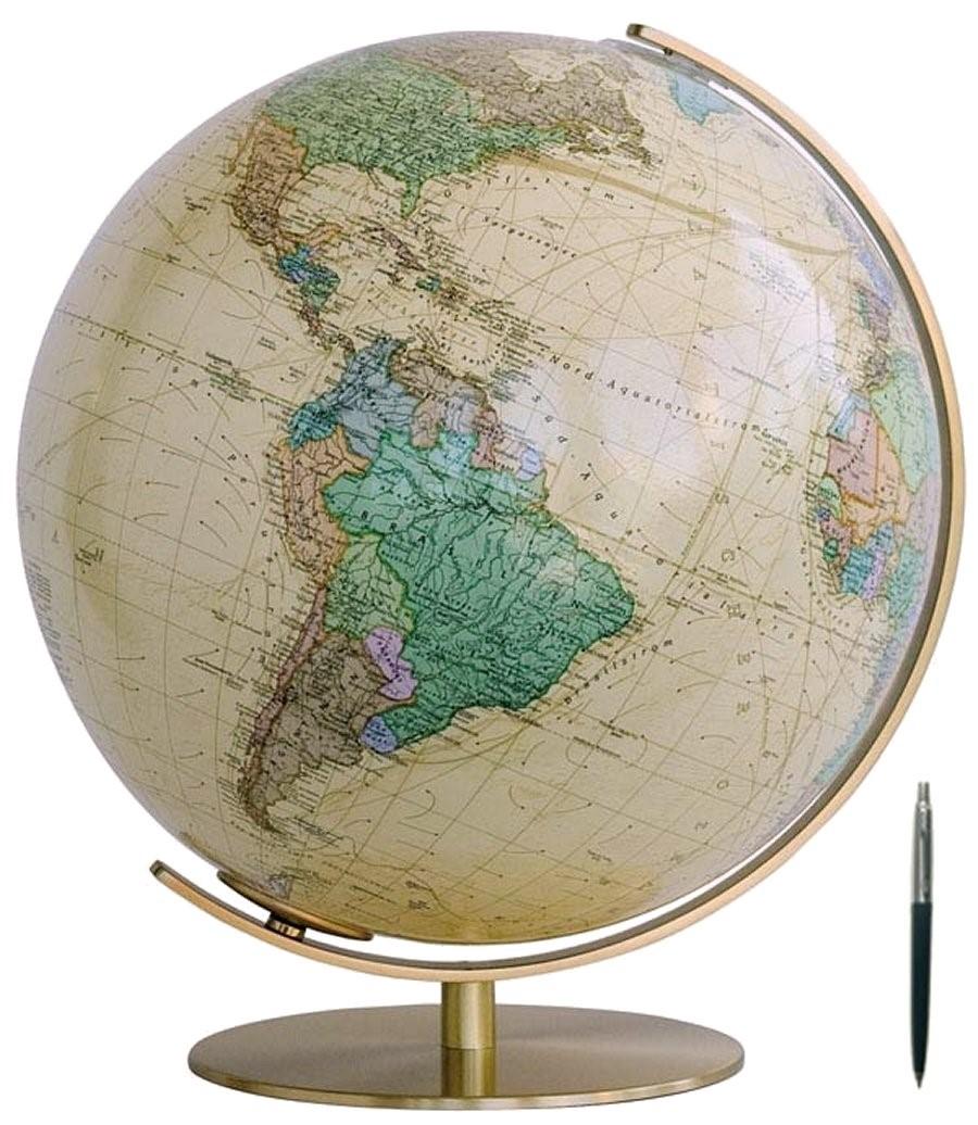 Royal Globe - Voet en meridiaan zijn van messing.