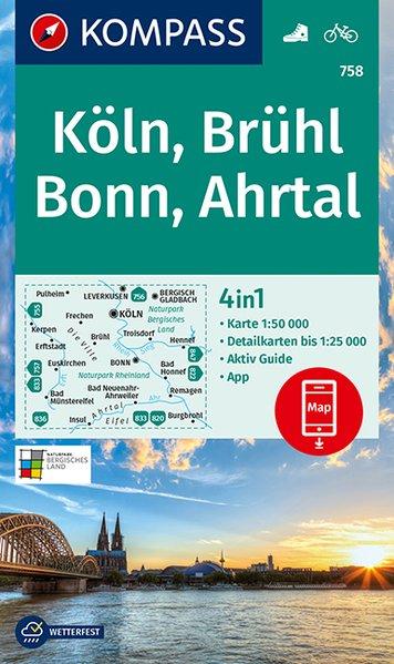 KOMPASS Wanderkarte 758 Köln, Brühl, Bonn, Ahrtal