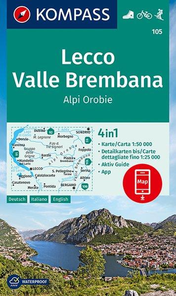 KOMPASS Wanderkarte 105 Lecco, Valle Brembana, Alpi Orobie