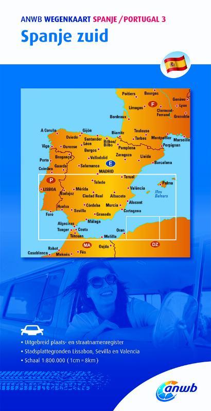 ANWB Wegenkaart Spanje / Portugal 3 Spanje zuid