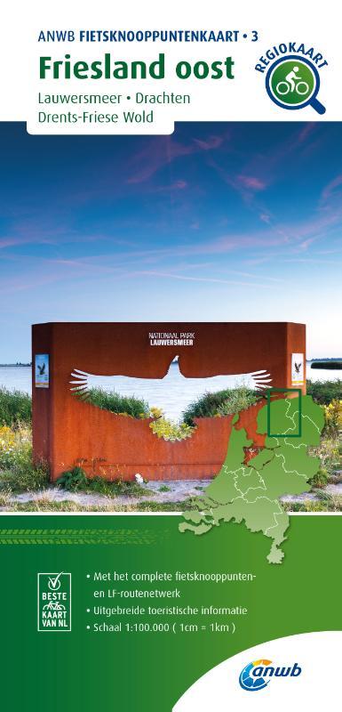 Fietsknooppuntenkaart Friesland oost 1:100.000