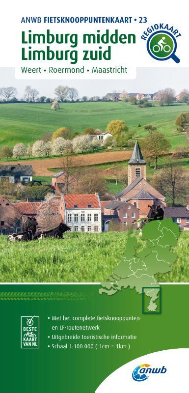 Fietsknooppuntenkaart Limburg midden, Limburg zuid 1:100.000