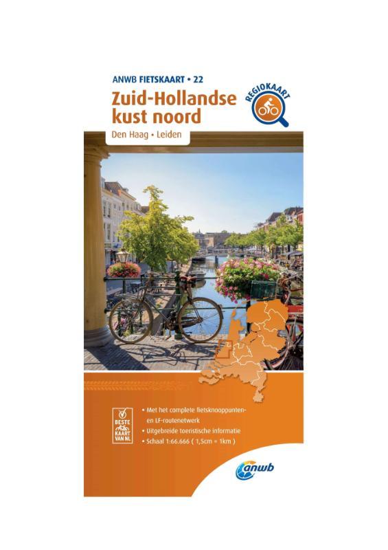 Fietskaart Zuid-Hollandse kust noord 1:66.666