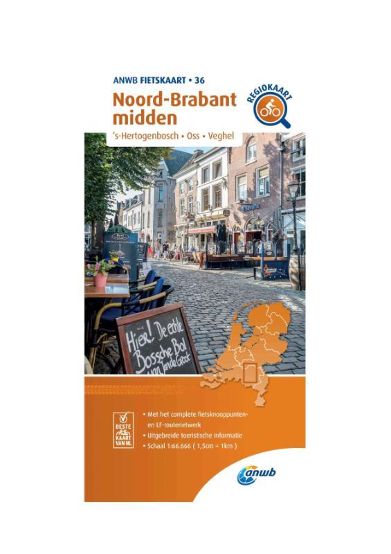 Fietskaart Noord-Brabant midden 1:66.666