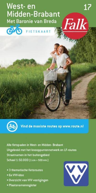 Falk VVV fietskaart 17 West-en Midden Brabant 2017-2019, 9e druk met fietsknooppunten