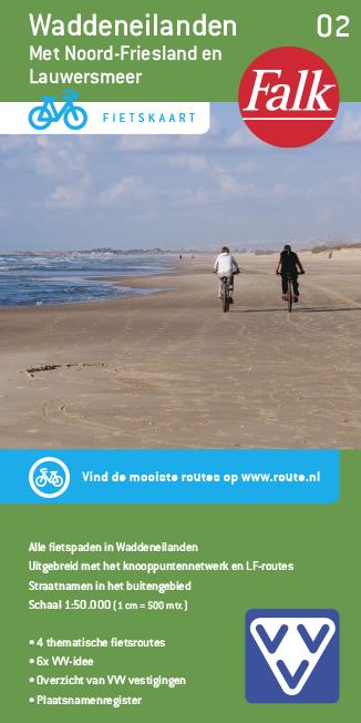 Falk VVV fietskaart 02 Waddeneilanden 2015-2018, 5e druk met Noord-Friesland en Lauwersmeer