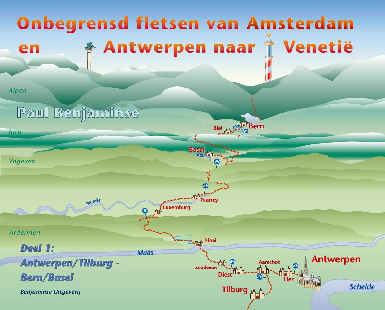 Venetië fietsen naar - Amsterdam - Bern