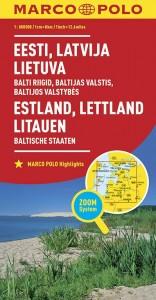 MARCO POLO Länderkarte Estland, Lettland, Litauen, Baltische Staaten 1: 800 000